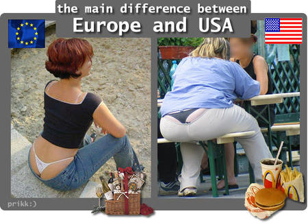 fat people eating mcdonalds. Europeans have McDonalds, but